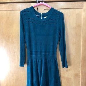 Forest green knit dress